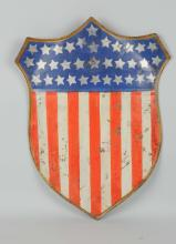 Painted Tin American Flag Shield.