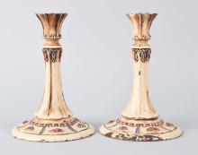 Cast Iron Floral Candlesticks.