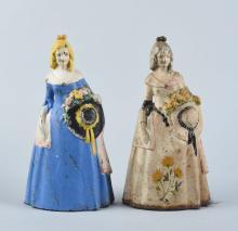 Cast Iron Colonial Women With Hat Doorstops.