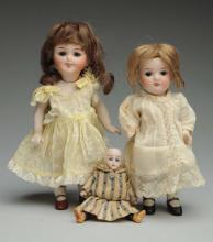 Lot Of 3: German All-Bisque Dolls.