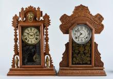 Lot of 2: Ornate Oak Mantle Clocks.