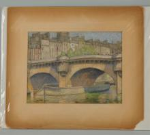 Pastel Painting Of a Canal Bridge By A.V. Greene