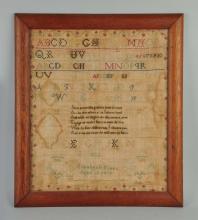 Rare 1822 New England Sampler by Elizabeth Frees.