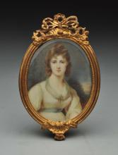 Ivory Miniature Painting Of Lady.