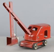 Red Tonka Toys Steam Shovel With Rubber Tread
