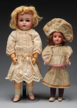 Lot of 2: German Bisque Child Dolls.