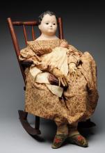 Lot of 2 Antique Papier-Mâché Dolls in Chair.