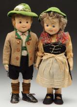Pair of Exquisite Steiff Dolls in Bavarian Clothes