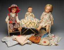 Lot of 3 Dolls, Furniture and Clothing.