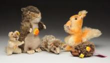 Lot Of 5: Steiff Forest & Field Animals with IDs.
