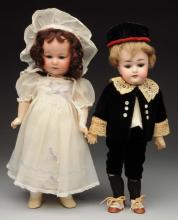 Lot of 2: German Bisque Head Dolls.