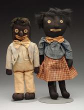 Lot Of 2: Black Cloth Dolls.