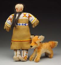 Lot of 2: Indian Doll & Steiff Fox.