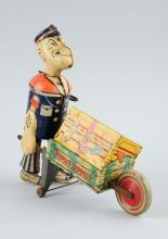 Marx Tin Litho Wind Up Popeye Express Toy.