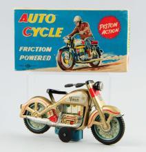 Japanese Tin Litho Friction Venus Motorcycle Toy.