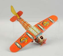 English Tin Litho Friction Space Patrol Airplane.