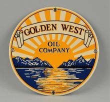 Golden West Oil Company Porcelain Sign.