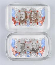 Lot Of 2: Roosevelt & Parker Glass Paper Weights.