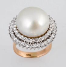 South Sea Pearl & Diamond Ring.