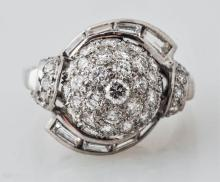 French Diamond & Platinum Ring .