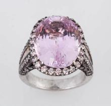 Kunzite & Diamond Ring.