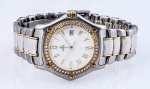 Ebel Two Tone Men's 1911 Diamond Bezel Watch.
