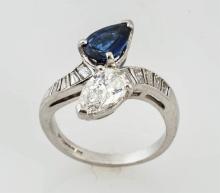 Diamond & Sapphire Oval Ring.