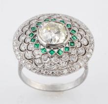 2.67 cts. Diamond & Emerald Cocktail Ring.
