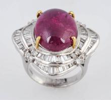 Rubellite & Diamond Cocktail Ring.