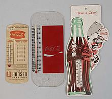 Lot of 3: Coca-Cola Thermometers.