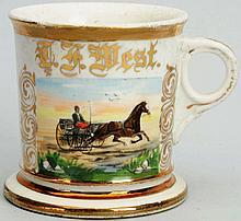 Horse-Drawn Open Wagon Shaving Mug.