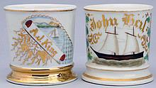 Lot of 2: Sailboat Shaving Mugs.