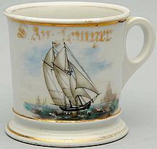 Two Masted Sail Boat Shaving Mug.