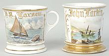 Lot of 2: Single Masted Sailboats Shaving Mugs.