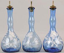 Lot of 3: Light Blue Cameo Head Barber Bottles.