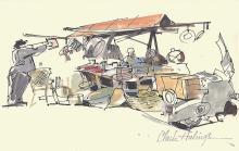 Clark Hulings - Market Sketch