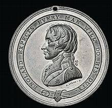 Nelson Testimonial Medal, 1844, in white metal, by E. Avern,