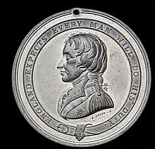*Nelson Testimonial Medal, 1844, in white metal, by E. Avern, bus