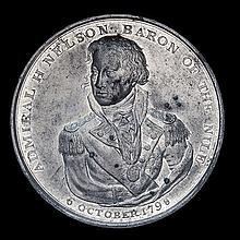 *Battle of the Nile, 1798, white metal medal, half-length figure