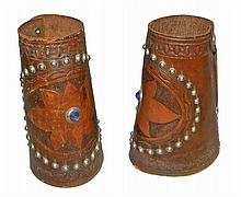 PAIR OF LEATHER AND TACK DECORATED CUFFS