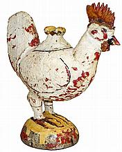 CARVED WOOD FOLK ART CHICKEN