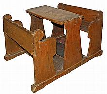 PRIMITIVE 19TH CENTURY CHILDS TABLE AND BENCHES