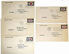 FIVE WWII FIRST DAY OF ISSUE OCCUPIED NATIONS ENVELOPES