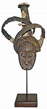 WOOD KHOLUKA MASK WITH CLOTH HEADDRESS