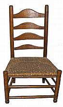 PRIMITIVE 19TH CENTURY LADDER BACK CHILDS CHAIR