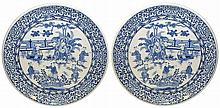 TWO LARGE BLUE AND WHITE CHINESE CHARGERS