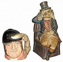 FIGURAL TOBACCO JAR AND TOBY MUG