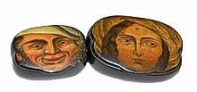 TWO PAPIER-MACHE SNUFF BOXES