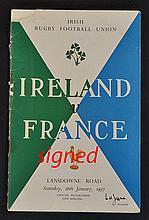1957 Ireland vs France signed rugby programme - pl