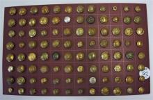Selection of brass military regimental buttons to
